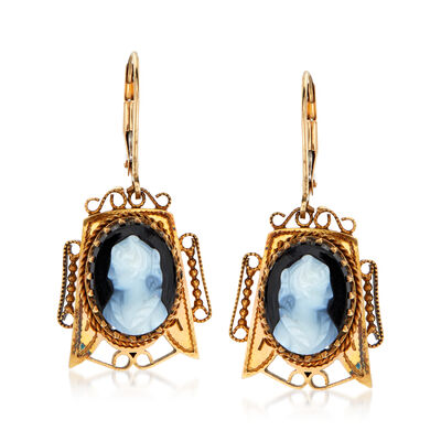 C. 1940 Vintage Black Agate Cameo Drop Earrings in 14kt Yellow Gold and 18kt Yellow Gold