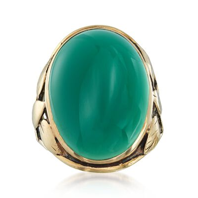 C. 1912 Vintage Bezel-Set Green Chalcedony Ring in 14kt Yellow Gold, , default