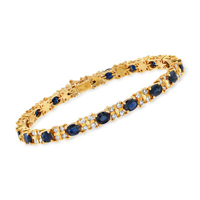C. 1990 Vintage 5.95 ct. t.w. Sapphire and 1.35 ct. t.w. Diamond Bracelet in 14kt Yellow Gold
