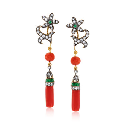 C. 1940 Vintage Coral, .80 ct. t.w. Diamond and .70 ct. t.w. Emerald Flower Drop Earrings in Sterling Silver and 10kt Yellow Gold, , default