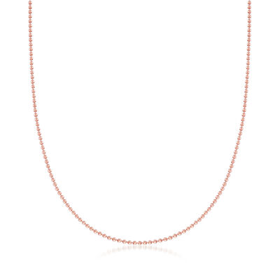 C. 1980 Vintage 18kt Rose Gold Beaded Chain with Heart Clasp, , default