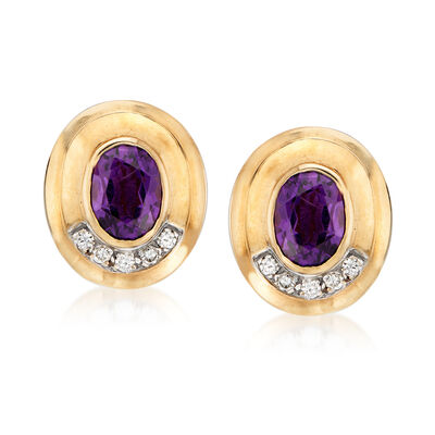 C. 1970 Vintage 4.00 ct. t.w. Amethyst and .30 ct. t.w. Diamond Clip-On Earrings in 14kt Yellow Gold