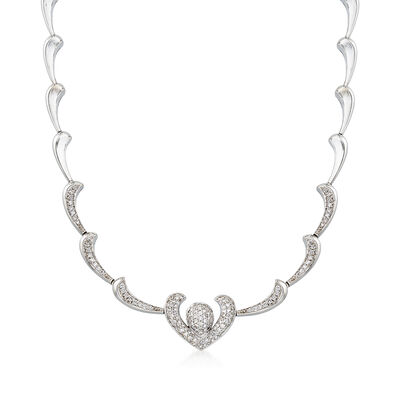 C. 1980 Vintage 2.10 ct. t.w. Diamond Heart Motif Necklace in 18kt White Gold, , default