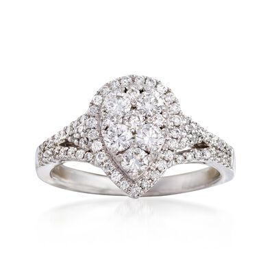 C. 2000 Vintage .85 ct. t.w. Diamond Cluster Ring in 18kt White Gold, , default