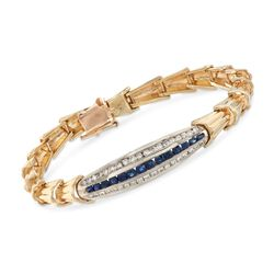 C. 1970 Vintage .60 ct. t.w. Diamond and .50 ct. t.w. Sapphire Bracelet in 14kt Yellow Gold, , default