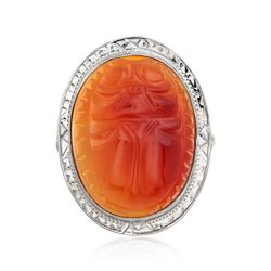 C. 1950 Vintage 19x15mm Carved Orange Carnelian Ring in 14kt White Gold, , default