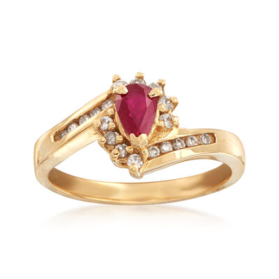 C. 1990 Vintage .45 Carat Ruby and .25 ct. t.w. Diamond Ring in 14kt Yellow Gold, , default