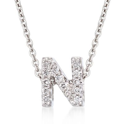 "Roberto Coin ""Love Letter"" Diamond Accent Initial ""N"" Necklace in 18kt White Gold, , default"