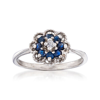 C. 1970 Vintage .24 ct. t.w. Sapphire Flower Ring with Diamond Accent in 10kt White Gold, , default