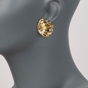 C. 1980 Vintage Henry Dunay 18kt Yellow Gold Hammered Shell Earrings , , default