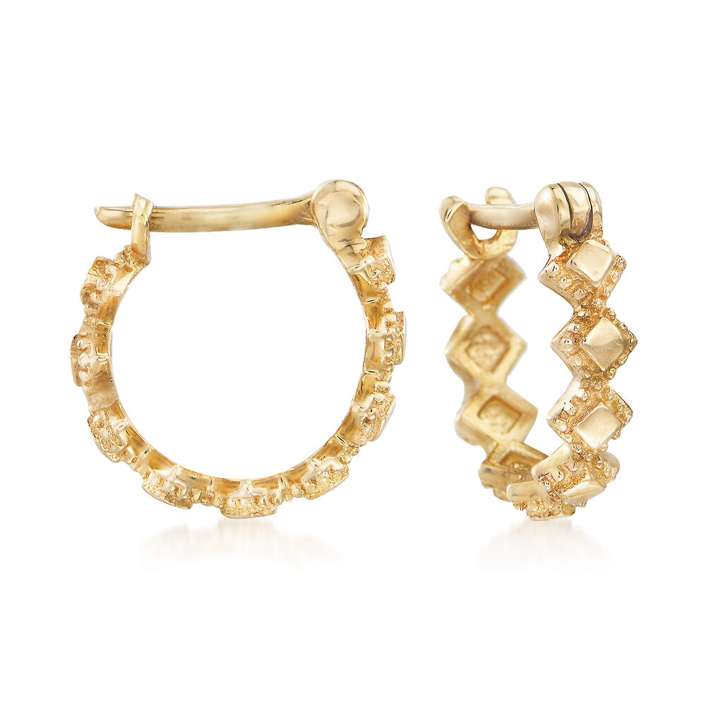 """001112a27 Child's 14kt Yellow Gold Multi-Square Huggie Hoop Earrings. 1/4"""","""