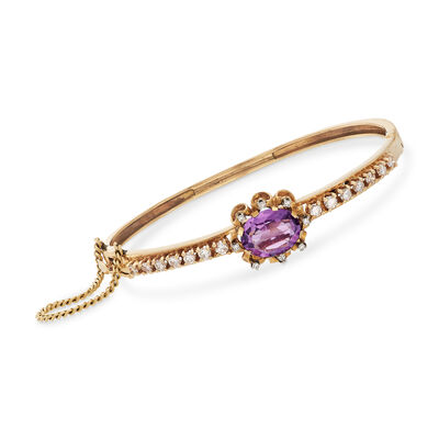 C. 1960 Vintage 4.10 Carat Amethyst and 1.25 ct. t.w. Diamond Bangle Bracelet in 14kt Yellow Gold