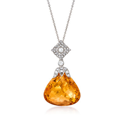 C. 1990 Vintage 28.90 Carat Citrine and .50 ct. t.w. Diamond Pendant Necklace in 18kt White Gold