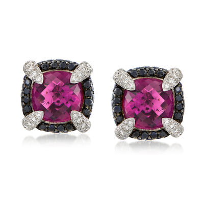 C. 2000 Vintage 18.50 ct. t.w. Rhodolite Garnet and 2.15 ct. t.w. Sapphire Earrings with Diamonds in 18kt White Gold, , default