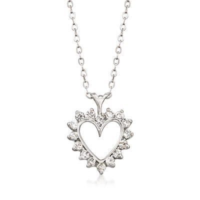 C. 1990 Vintage .50 ct. t.w. Diamond Heart Pendant Necklace in 14kt White Gold, , default