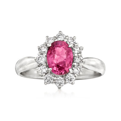 C. 2000 Vintage 1.29 Carat Certified Pink Sapphire and .36 ct. t.w. Diamond Ring in Platinum