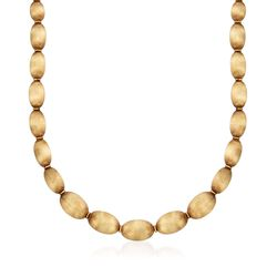 C. 1960 Vintage 18kt Yellow Gold Textured Oval Bead Necklace, , default