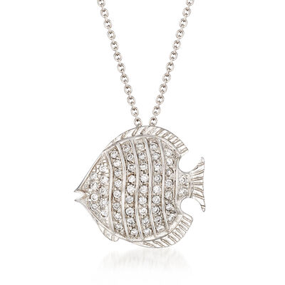 "Roberto Coin ""Tiny Treasures"" .25 ct. t.w. Diamond Fish Necklace in 18kt White Gold"