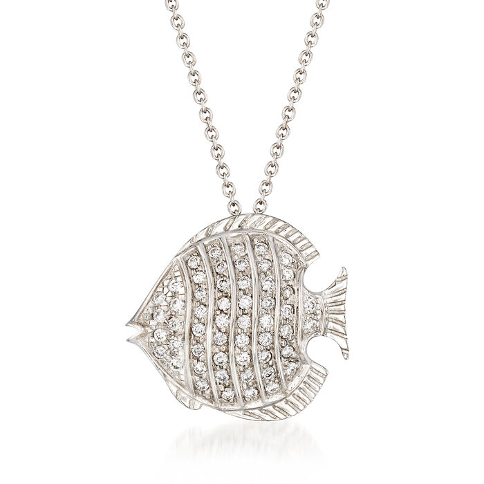 "Roberto Coin Tiny Treasures .25 Carat Total Weight Diamond Fish Necklace in 18-Karat White Gold. 16"", , default"