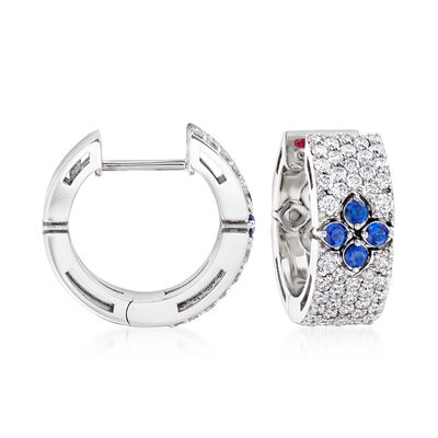 Roberto Coin .80 ct. t.w. Diamond and .23 ct. t.w. Sapphire Hoop Earrings in 18kt White Gold