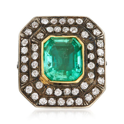 C. 1940 Vintage 4.40 Carat Emerald and 1.30 ct. t.w. Diamond Ring in Sterling Silver and 14kt Yellow Gold