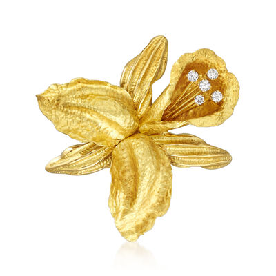 C. 1980 Vintage .75 ct. t.w. Diamond Flower Pin in 18kt Yellow Gold