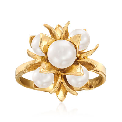 C. 1970 Vintage 5x6mm Cultured Akoya Pearl Flower Cluster Ring in 14kt Yellow Gold, , default