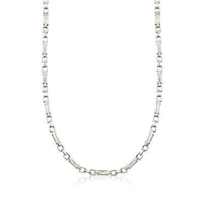 C. 2000 Vintage Men's Platinum Block Link Chain Necklace, , default