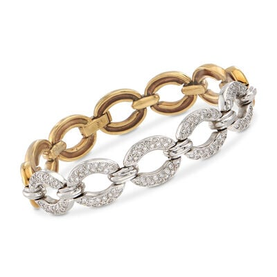C. 1990 Vintage 1.50 ct. t.w. Diamond Oval-Link Bracelet in 18kt Two-Tone Gold, , default