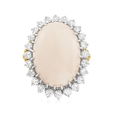 C. 1970 Vintage Pink Coral and 1.65 ct. t.w. Diamond Ring in 18kt Yellow and 14kt White Gold