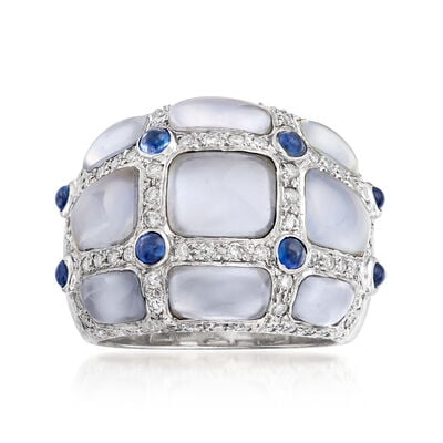 C. 1980 Vintage Chalcedony, .60 ct. t.w. Diamond and .40 ct. t.w. Sapphire Ring in 18kt White Gold, , default