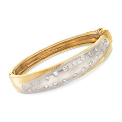 C. 1990 Vintage 1.85 ct. t.w. Diamond Bangle Bracelet in 18kt Two-Tone Gold, , default