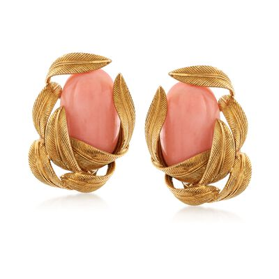 C. 1960 Vintage Pink Coral and 18kt Yellow Gold Leaf Clip-On Earrings, , default