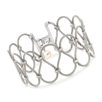 """ALOR Classique Gray Stainless Steel Cable Swirl Bracelet With Diamond Accent and 18-Karat Yellow Gold. 7"""", , default"""