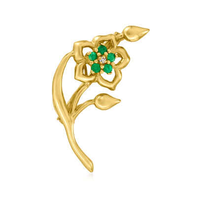 C. 1970 Vintage .25 ct. t.w. Emerald Flower Pin with Diamond Accent in 14kt Yellow Gold