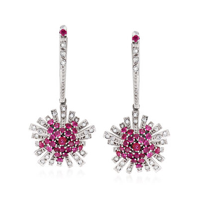 C. 1960 Vintage 1.50 ct. t.w. Ruby and .85 ct. t.w. Diamond Burst Drop Earrings in 18kt White Gold, , default