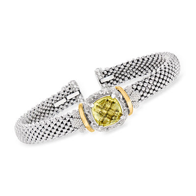"Phillip Gavriel ""Popcorn"" 4.00 Carat Yellow Quartz Cuff Bracelet in Sterling Silver with 18kt Yellow Gold"