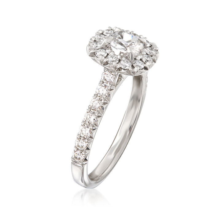 Henri Daussi .99 ct. t.w. Diamond Halo Engagement Ring in 18kt White Gold