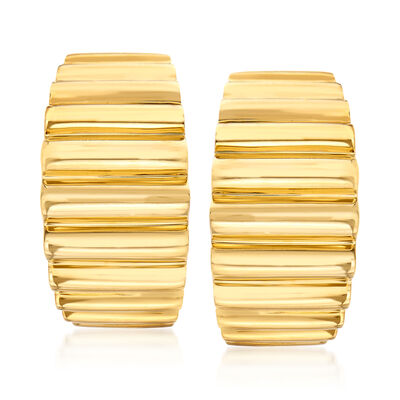 C. 1980 Vintage Tiffany Jewelry 18kt Yellow Gold Ridged Clip-On J-Hoop Earrings, , default