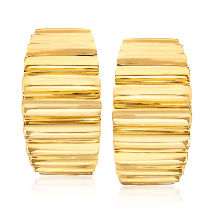 "C. 1980 Vintage Tiffany Jewelry 18kt Yellow Gold Ridged Clip-On J-Hoop Earrings. 3/4"", , default"