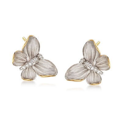Simon G. .10 ct. t.w. Diamond Butterfly Earrings in 18kt Two-Tone Gold, , default
