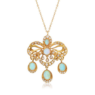 C. 1970 Vintage Opal and 1.60 ct. t.w. Diamond Fancy Pendant Necklace in 14kt Yellow Gold, , default