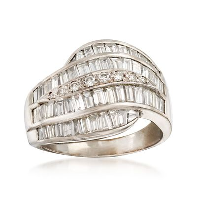 C. 1990 Vintage 2.40 ct. t.w. Baguette and Round Diamond Wave Ring in 18kt White Gold, , default