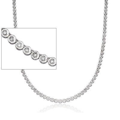 C. 1990 Vintage 2.25 ct. t.w. Diamond Tennis Necklace in 14kt White Gold, , default