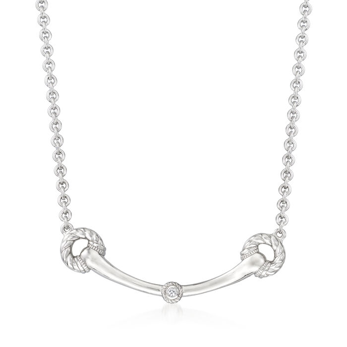 """Judith Ripka """"Vienna"""" Sterling Silver Horsebit-Style Necklace with Diamond Accents"""