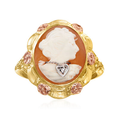 C. 1940 Vintage Pink Shell Cameo Ring with Diamond Accent in 10kt Two-Tone Gold