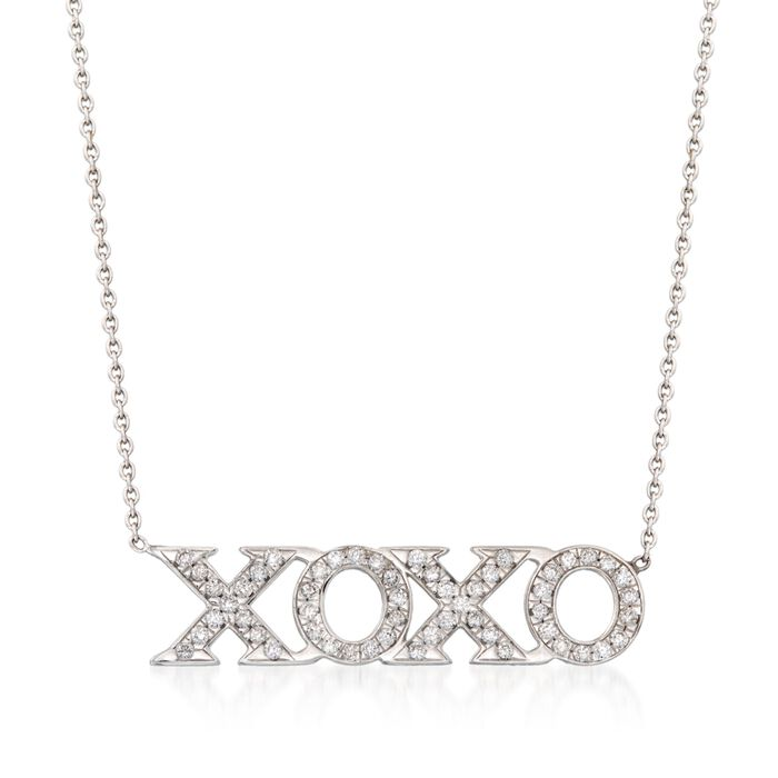 "Roberto Coin Tiny Treasures .26 Carat Total Weight Diamond XO Necklace in 18-Karat White Gold. 16"", , default"