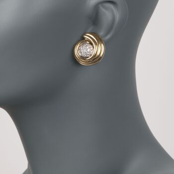 C. 1980 Vintage 1.60 ct. t.w. Diamond Swirl Earrings in 14kt and 18kt Gold. 3/8""