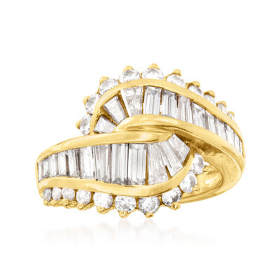 C. 1980 Vintage 3.00 ct. t.w. Diamond Knot Ring in 18kt Yellow Gold