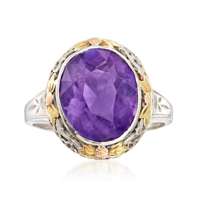 C. 1950 Vintage 4.95 Carat Amethyst Ring in 14kt Two-Tone Gold
